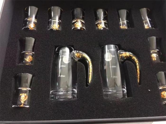 白酒杯套装、工艺酒杯白酒杯套装、进口金箔水晶酒具酒杯