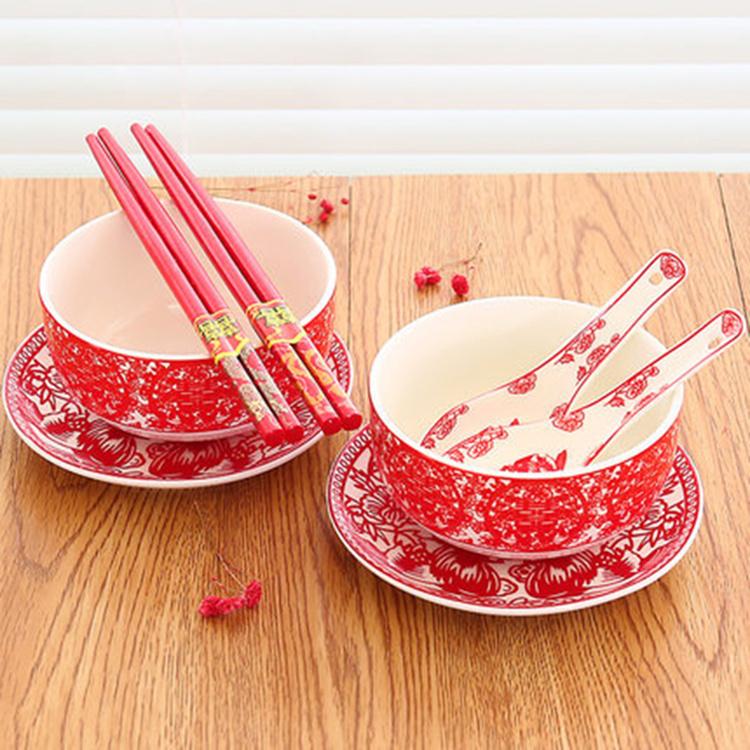 婚庆用品结婚礼物碗筷套装 陶瓷敬酒壶喜碗 新人改口敬茶杯茶具