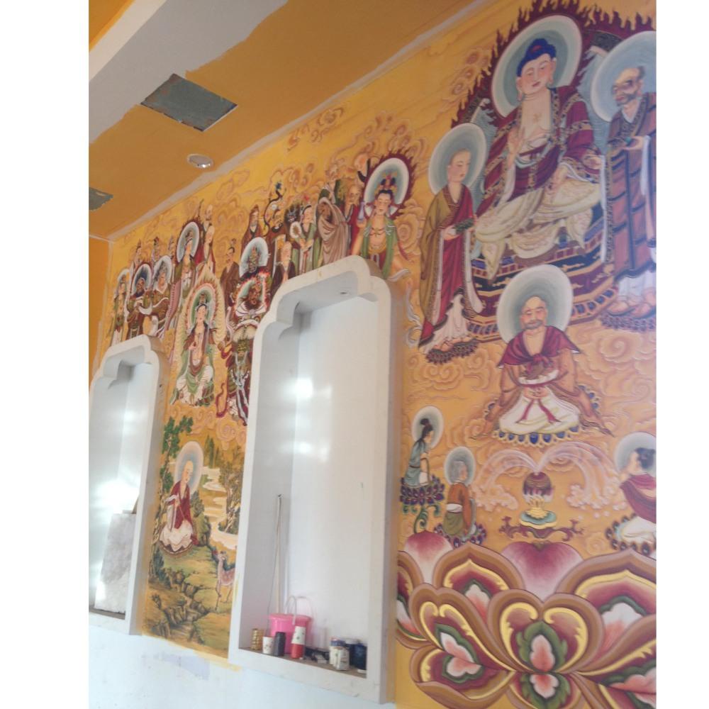 佛像壁画道教神像壁画寺庙背景墙壁画古建筑彩绘