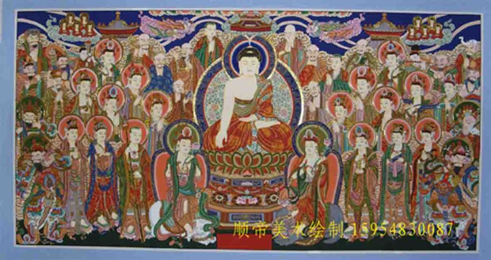佛像壁画道教壁画寺庙雕塑背景墙壁画佛像贴金箔