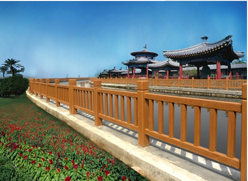 950仿木护栏仿木8柱护栏750仿木栏杆水泥制品景区栏杆