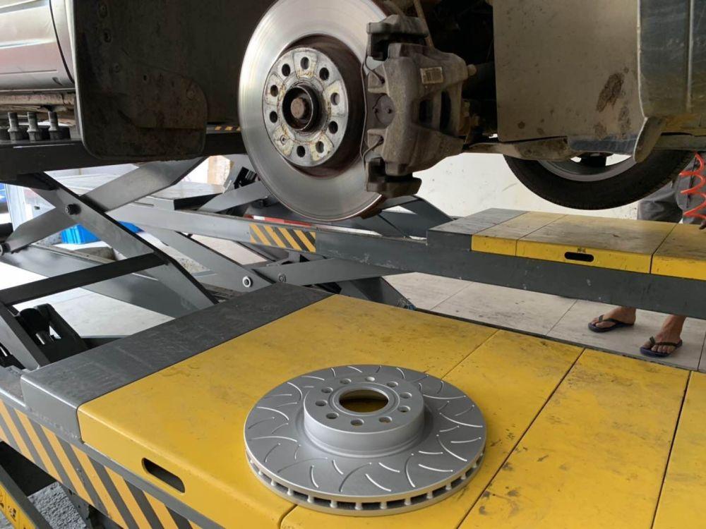 大众途观制动升级ECFRONT原厂替换龙鳞刹车盘 耐高温 不抖动