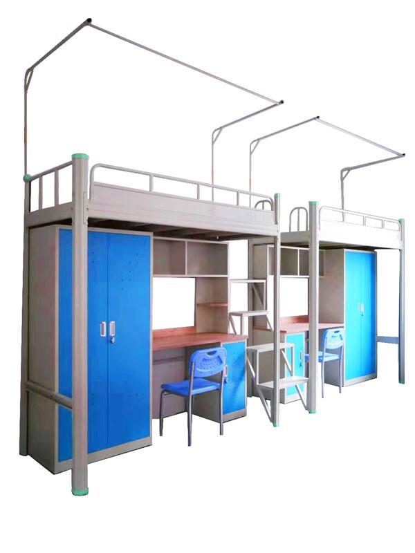 广东学生公寓床上床下桌组合床床带衣柜桌单人床卡扣式公寓床