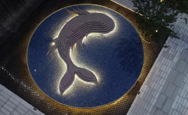 台州庭院不锈钢切片鲲雕塑 金属动物灯光鲲制作效果