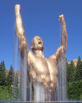 云南大型不锈钢大力士雕塑 水景景观设计
