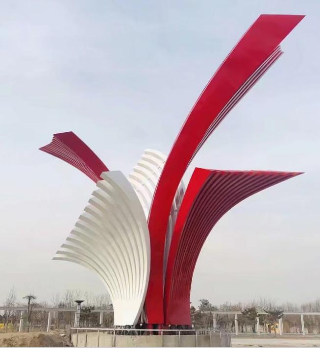 城市大型不锈钢展翅飞翔雕塑 不锈钢抽象栅栏雕塑