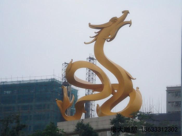 铁岭定制不锈钢龙雕塑 金龙腾飞 抽象金色雕塑摆件厂家