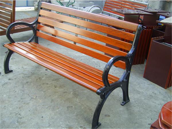 【广东休闲椅批发商】钢木靠背椅 塑木公园椅批发价格