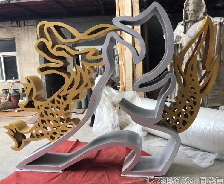 户外金属镂空小品摆件 绿地人物摆件来图定制