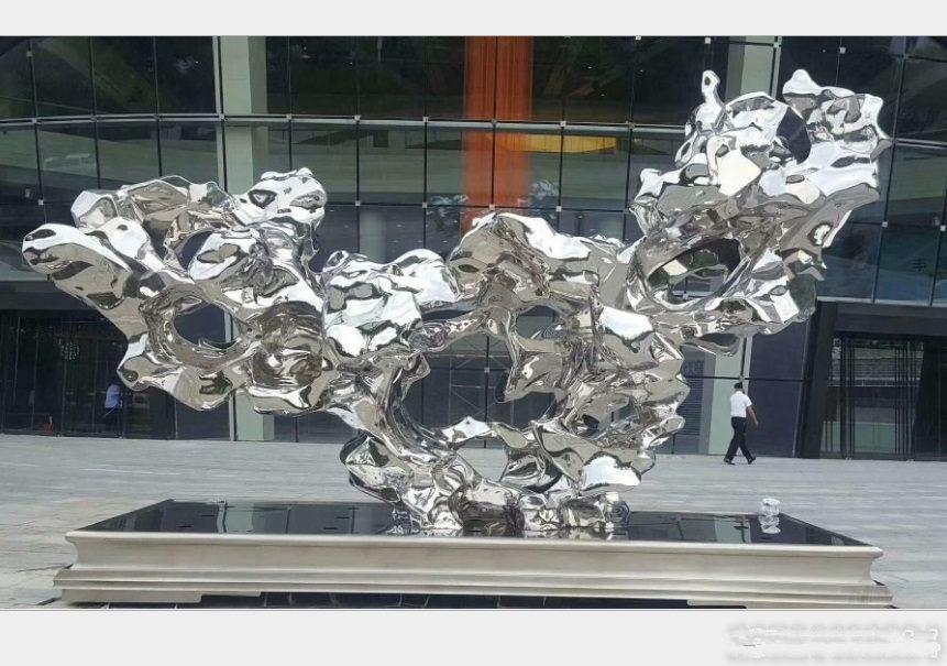 杭州304不锈钢太湖石雕塑 订做不锈钢镜面石雕塑