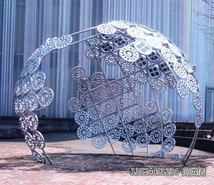 杭州公园不锈钢圆形拼接雕塑 厂家直销镜面摆件