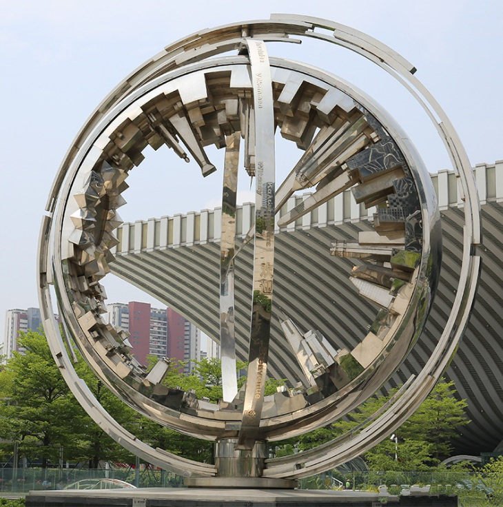 杭州不锈钢景观城市建筑模型雕塑 不锈钢雕塑厂家制作