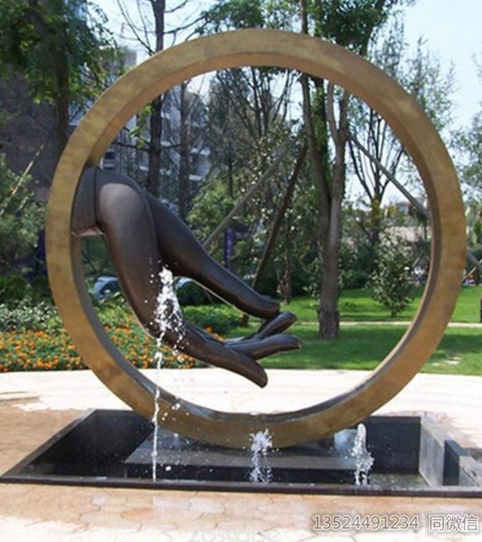 九江工厂定制不锈钢佛手雕塑 抽象水景艺术仿古摆件