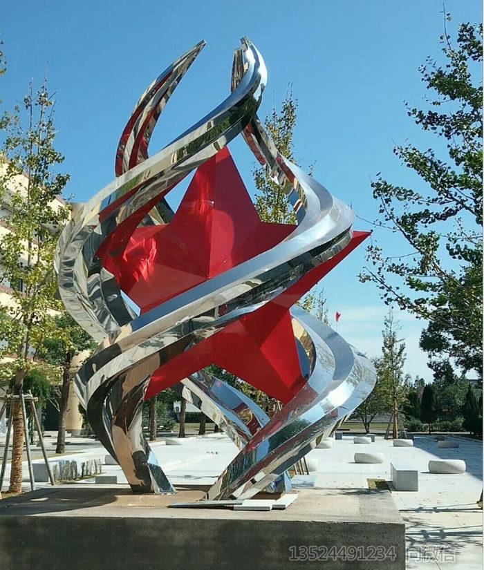 荆州校园大型五角星雕塑不锈钢 定制各种星星雕塑厂