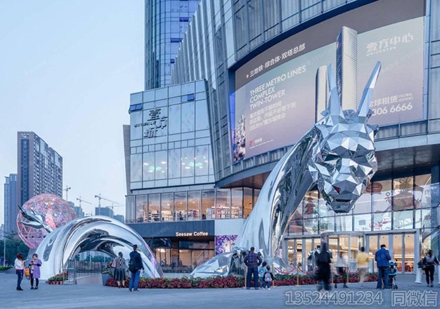 阜陽定制大型不銹鋼幾何龍雕塑 燈飾鏡面龍制作竣工圖