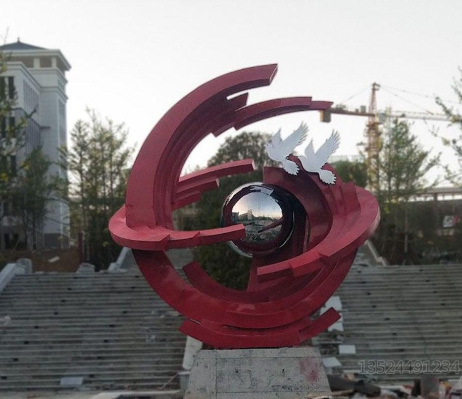 宜昌校园主题304不锈钢梦想飞翔雕塑定做 工厂案例