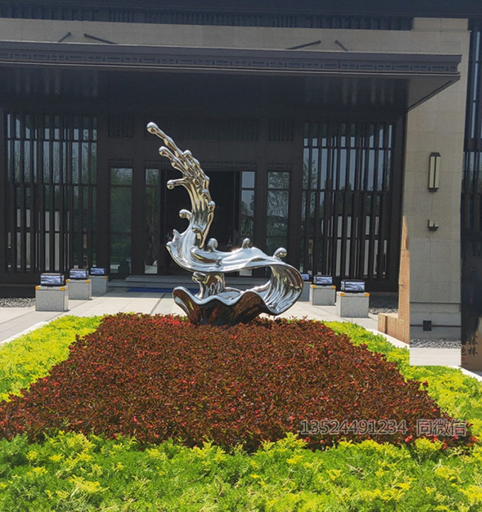 桂林不锈钢拉丝水花雕塑 镜面浪花水景 创意金属摆件