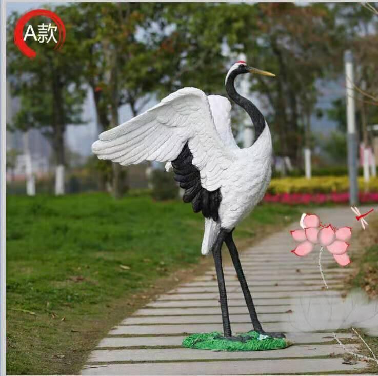 广州松涛工艺仿真玻璃钢动物雕塑 人造玻璃钢仙鹤雕塑 玻璃钢雕塑厂家直销
