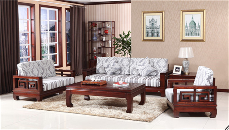 上海现代新中式实木沙发组合药木家具厂家直销