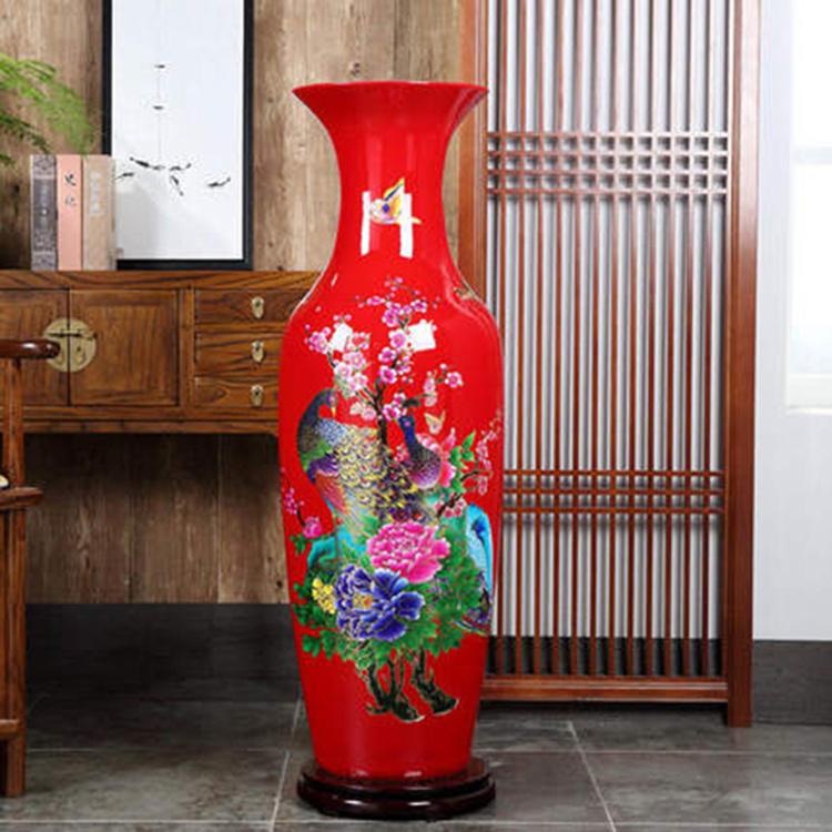 景德鎮中國紅彩金牡丹花開富貴落地大花瓶酒店客廳大擺件陶瓷器瓶