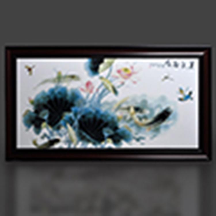 景德鎮陶瓷名家手繪瓷板畫仿古實木框 山水四條屏 客廳書房裝飾