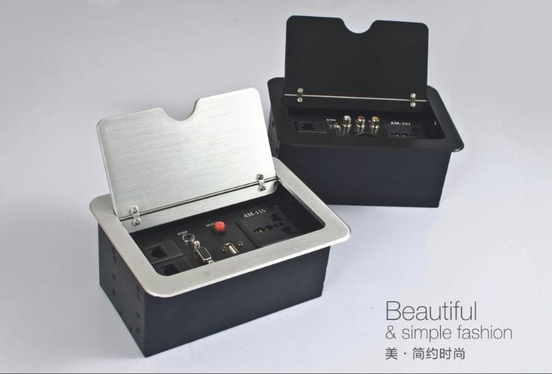 昆明博奥12年老牌隐藏式桌面插座 弹起式桌面信息盒 多功能桌面线盒