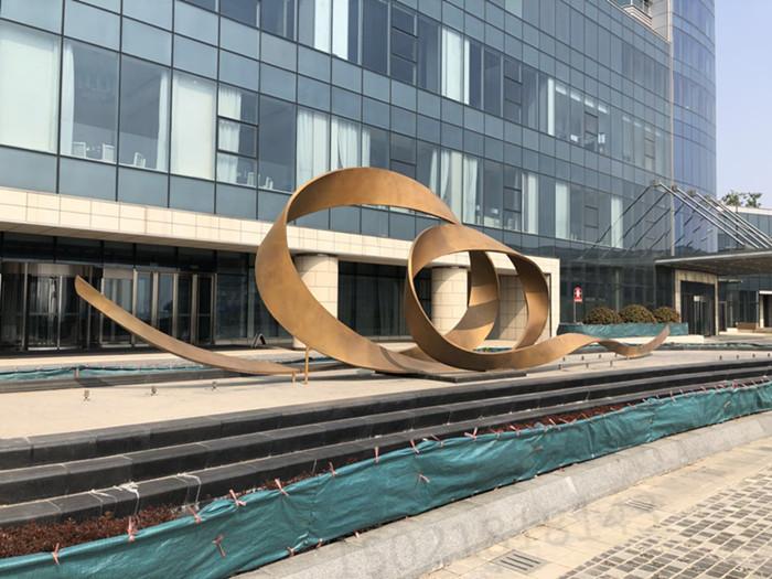 合肥耐候钢抽象艺术雕塑 建筑入口工艺摆件