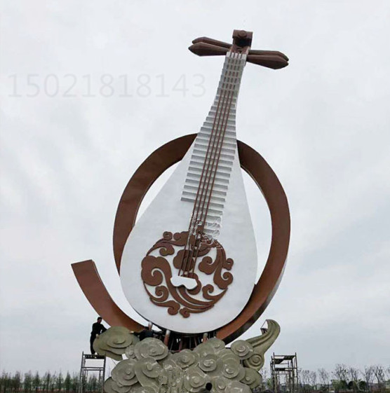 吉林广场大型弹拨乐器琵琶雕塑 古筝吉他定制图片