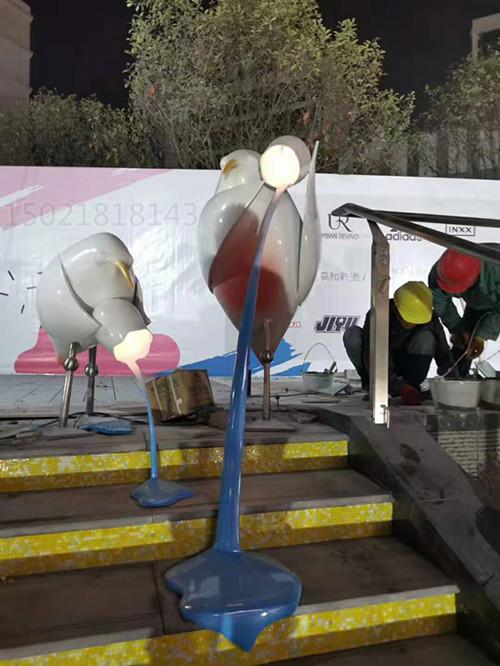 黃石水禽兩棲動物鷺雕塑 商業街美陳白鷺燈光裝飾