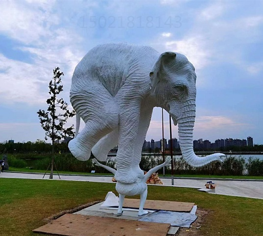 艺术欣赏白铜大象雕塑 铸铜定制