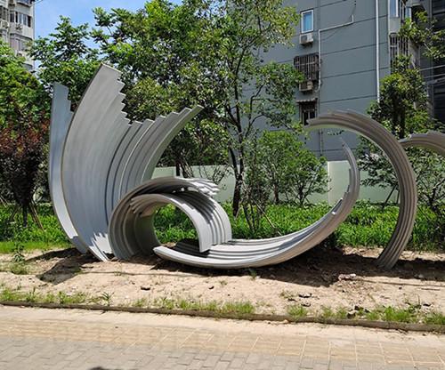 天津曲面鋼板抽象雕塑 樓盤綠化裝飾雕塑制作
