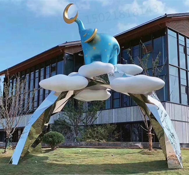 九江卡通象门头雕塑 游乐园动物门头定制