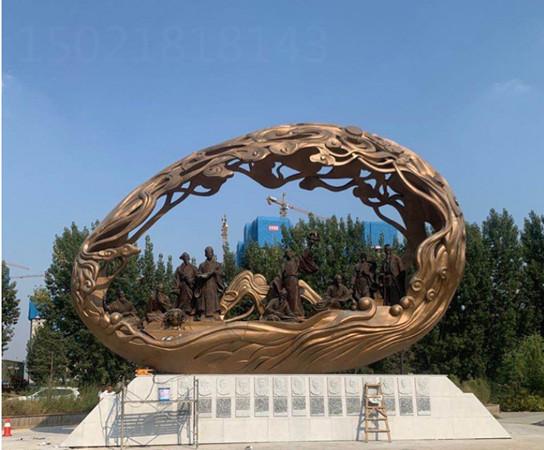 漢中大型不銹鋼仿銅人物雕塑 城市人文景觀