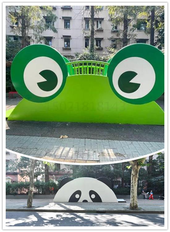 韶山社区街道雕塑 不锈钢青蛙滑梯雕塑摆件