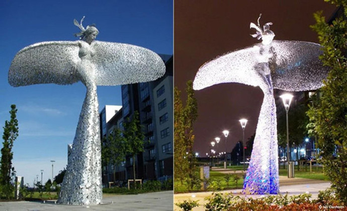 玉溪廣場方塊拼接鏤空人物雕塑 景觀燈光雕塑定制工廠