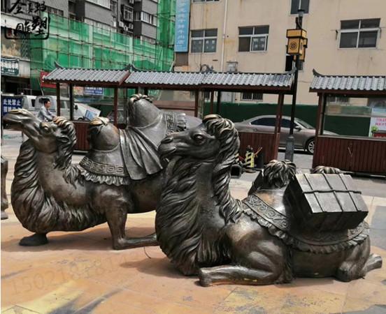 江蘇沙漠之舟鑄銅駱駝雕塑 俯臥雙駝峰動物雕塑擺件