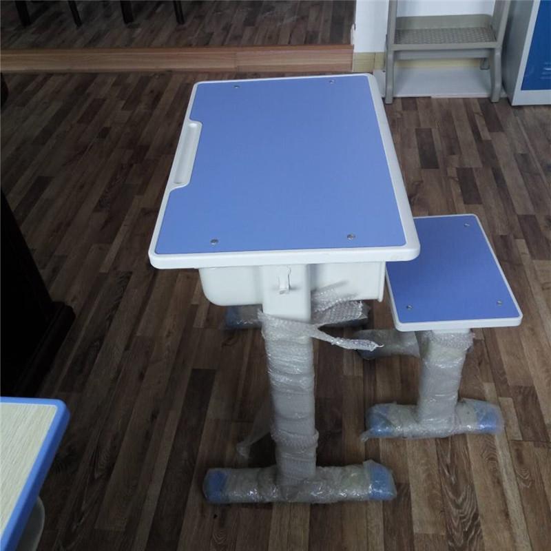 钢制学校辅导班课桌椅 单双柱可升降课桌椅 可调高度学生课桌椅