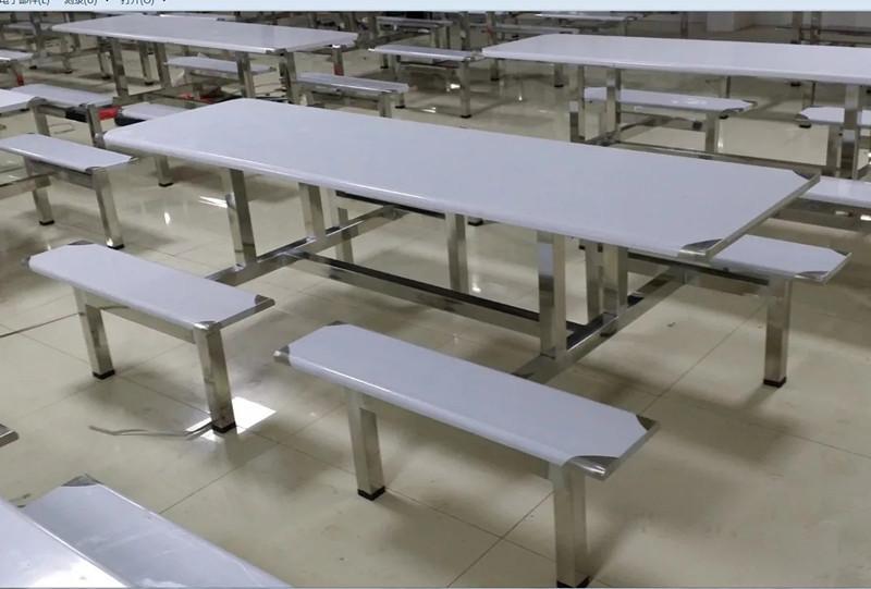 不锈钢连体餐桌椅 学校学生食堂四人位餐桌椅 员工餐椅多人位餐桌椅