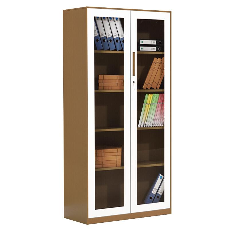 洛阳友时套色钢制通玻璃资料柜带锁书柜铁皮物品展示柜