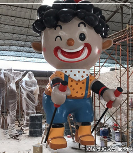 五米滑冰人物雕塑工廠/玻璃鋼卡通小丑擺件