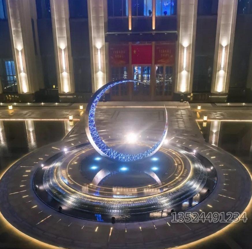 大型304月牙時鐘雕塑 景觀創意環形擺件