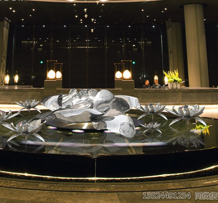 酒店不锈钢水芙蓉雕塑 水中镜面莲花摆件