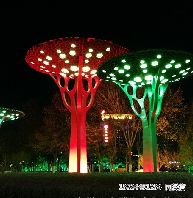 城市304樹形夜景燈雕塑 不銹鋼鍛造樹定制