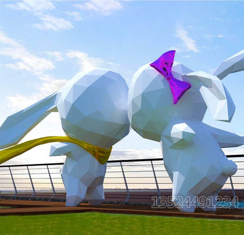 玻璃钢大型几何兔子雕塑 踩着云朵的兔子摆件