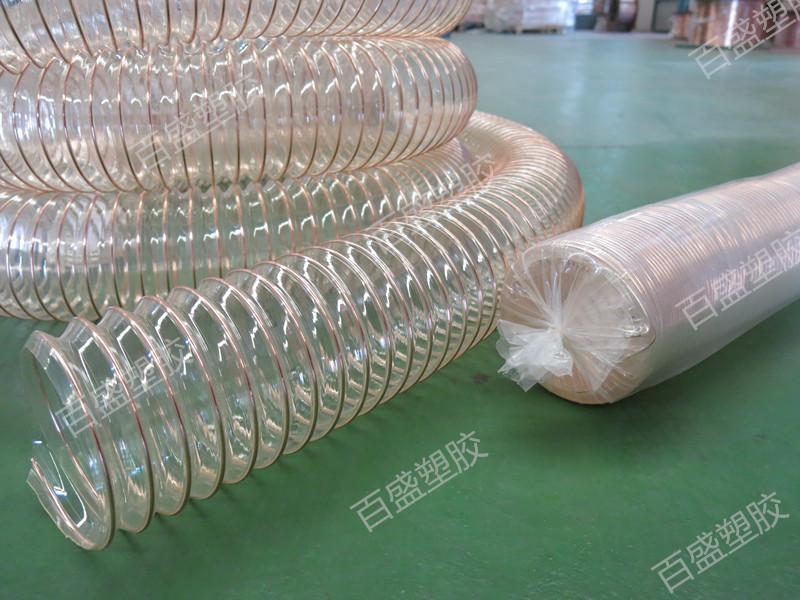 河北家具厂吸木屑用4寸PU钢丝伸缩管厂家批发价格,