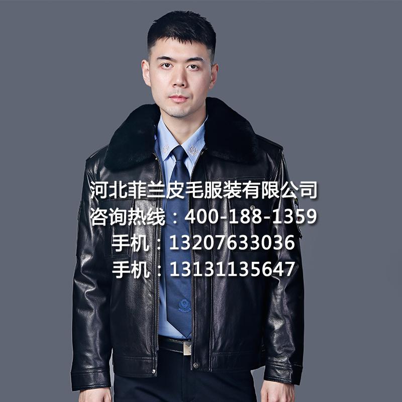 保安皮衣正品冬執勤皮夾克頭層真皮戶外巡邏護衛工作制服廠家批發源頭工廠