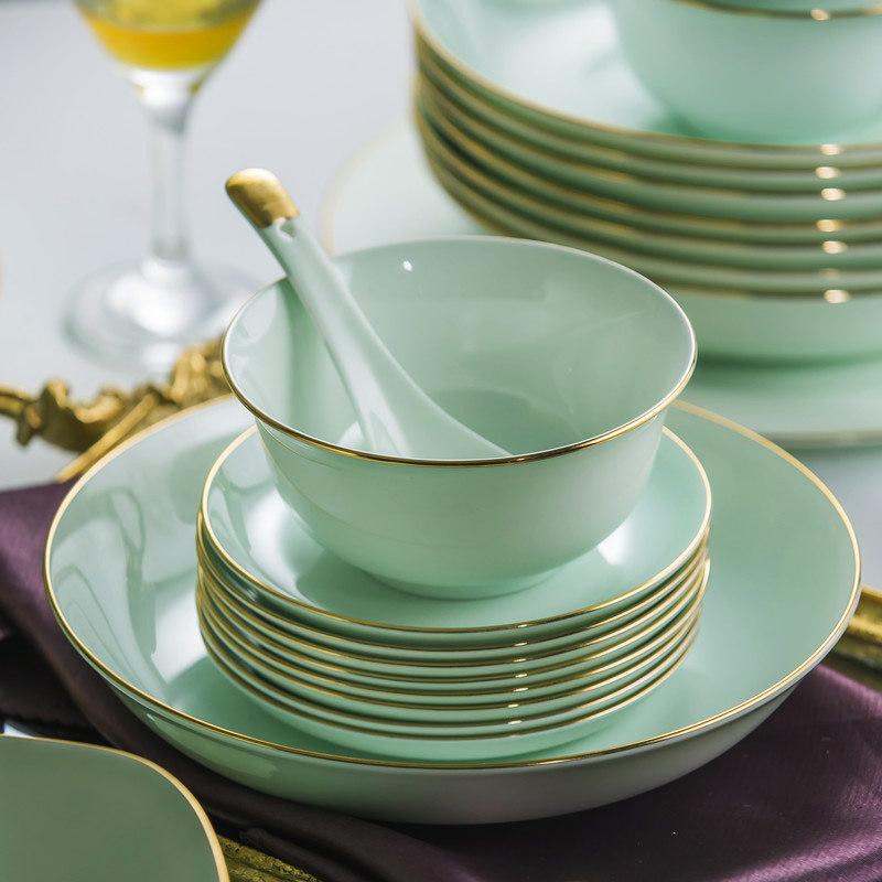 喬遷新居送高檔描金影青瓷餐具,描金青瓷餐具生產廠家