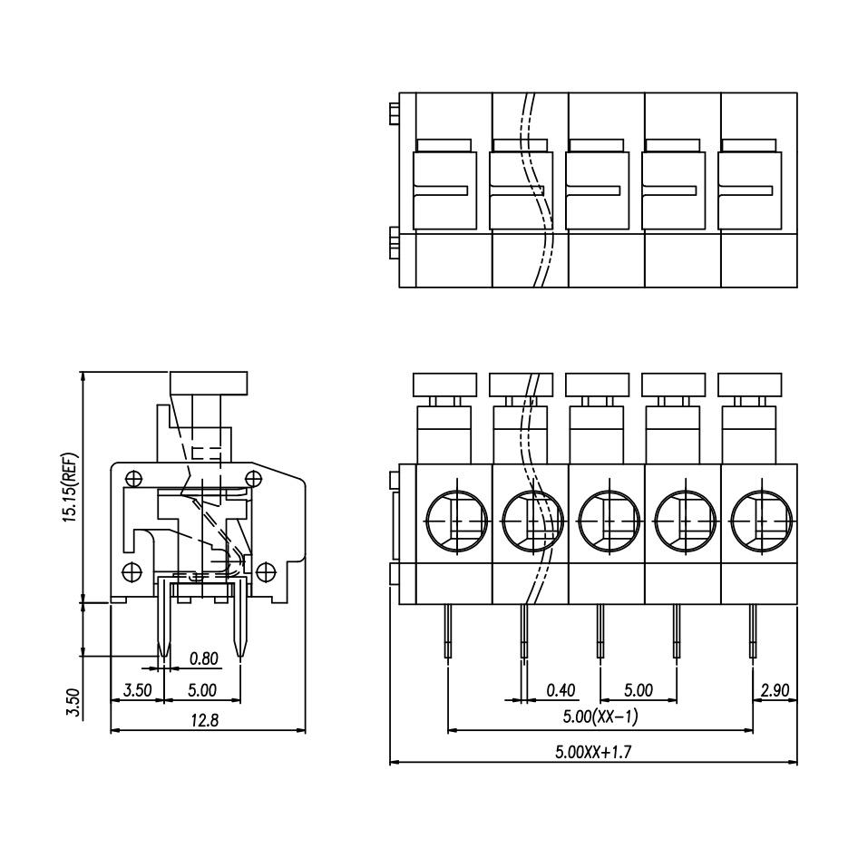 澳斯FS260镇流器接线端子 免螺丝 PCB板235端子