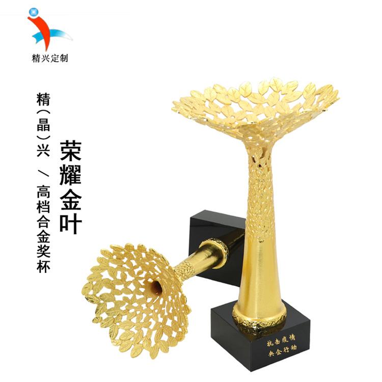 湖北武汉抗疫人员表彰水晶奖杯奖牌 定制纪念礼品