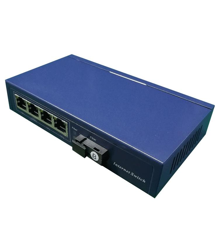 华励百兆1光4电POE光纤收发器,标准48V供电SC接口单模单纤